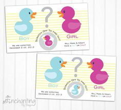 Rubber Ducky Custom Made Gender Reveal Scratch Off Cards on Etsy, $6.52 AUD