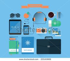 Illustration of modern workspace and equipment. Top view on office objects. Creative workplace. Vector illustration in minimalistic style. Flat design with long shadows.