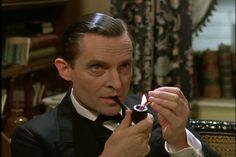 "Jeremy Brett - the ""I dare you to say something interesting"" Sherlock face."