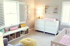 cream carpet, white ikea expedit, gray walls