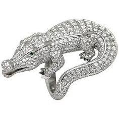 Cartier emerald diamond platinum Alligator ring