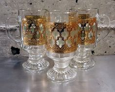 Gorgeous Trio of Morrocan Styled, Valencia Patterned Irish Coffee Glasses or Mugs, w/ 22kt Gold Foil,by Culver Glassware Company of Brooklyn