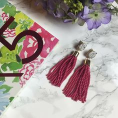 """NEW marble pink beaded tassel earrings So cute and perfect with any fun outfit this Spring!! Cute faux white and black marble with pink beaded tassel. Gold zinc alloy metal. Earrings are about 3"""" long. Free gift with any purchase from my closet ❤!  no trades Jewelry Earrings"""