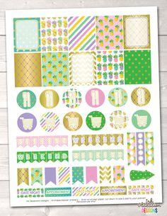 Golden Pineapples Printable Planner Stickers Weekly Kit