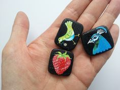 Tiny paintings that will be attached to vintage pins and then listed in the Drop the Weasel shop.