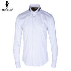 2dcb2452f Aliexpress.com   Buy Troilus Luxury Shirt Men Ink Brush Print Brand Long Sleeve  Mens Dress Shirts Cotton Casual Chemise Homme Turn Down Collar Shirt from  ...