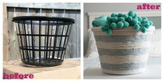 DIY Rope Basket ~ dollar store basket, hot glue gun and rope ~ cute! Dollar Store Hacks, Dollar Store Crafts, Dollar Stores, Diy Décoration, Easy Diy, Simple Diy, Diy Projects To Try, Craft Projects, Craft Ideas