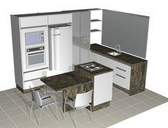 Ilha com cooktop e mesa pequena