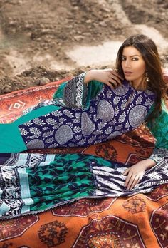 Turquoise and blue printed designer suit - Desi Royale