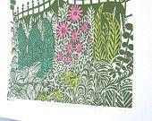 Gated Garden Linocut Print ref 169