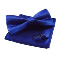 Men's Solid Formal Banded Pre-tied Bow Ties Set (Royal Blue) at Amazon Men's Clothing store: