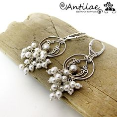 Riam  seashell pearls farm pearl silver earings by Antilae on Etsy