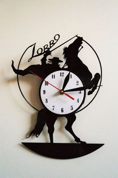 Zorro Design vinyl record wall clock white