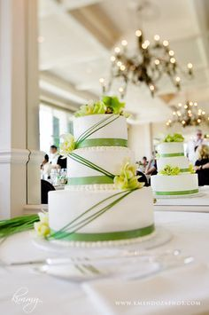 White & green wedding cake. Very pretty!