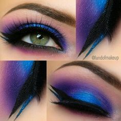 Violet and blue gradient eye makeup