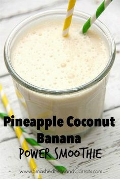 Looking for a great tasting super filling nutrient rich and protein packed smoothie? Well look no further this Pineapple Coconut Banana Power Smoothie is all that plus so much more! This is one of our go-to smoothies on busy mornings and perfect for Protein Smoothies, Smoothie Proteine, Keto Smoothie Recipes, Power Smoothie, Protein Shake Recipes, Breakfast Smoothies, Fruit Smoothies, Coconut Smoothie, Pineapple Smoothie Recipes