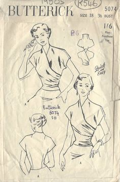 ITEM DESCRIPTION: ~ Circa/Date: 1950s ~ Details: Two style variation BLOUSE ~ Size/Measurements: 18 CHEST: 36 Waist: 30 Hip: 39 (Inches) ~ Please Note: You are buying a Professional Digitally Reproduced copy of this sewing pattern (copied from the original sewing pattern), produced in