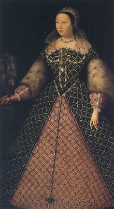"Catherine de Medici circa 1555. One of the costliest gowns ever portrayed. According to Herbert Norris, ""Tudor Costume and Fashion,"" "" The dress is of black velvet, entirely covered with a trellis-work of pearls, with sapphires in gold mounts set at the intersections; the spaces in between are embroidered with a design in gold."""