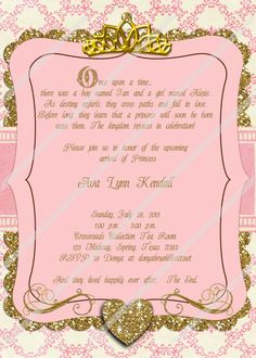 Once Upon A Time Invitation, Princess Invitation, Pink And Gold Invitation, Baby  Shower, Birthday, Fairy Tale, Invitation