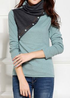 High Neck Button Embellished Long Sleeve Blouse on sale only US$29.22 now, buy cheap High Neck Button Embellished Long Sleeve Blouse at liligal.com