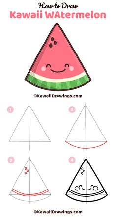 Easy step-by-step drawing tutorial for a kawaii watermelon slice. Draw a triangle, add a few arches, finish with a face. Cute drawing to draw with kids and for summer-time crafts. Kawaii art and drawi Easy Drawings For Kids, Cool Art Drawings, Doodle Drawings, Drawing For Kids, Drawing Ideas, Drawing Base, Disney Drawings, Pencil Drawings, Triangle Drawing