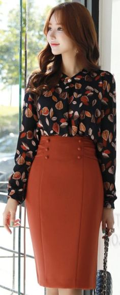 StyleOnme_Double-Breasted Button H-Line Skirt #orange #elegant #fallcolor #pencilskirt #koreanfashion #kstyle #kfashion #dailylook