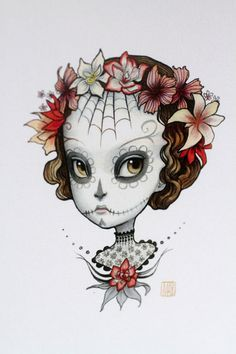 Dia de los Muertos - Adonica - 3 blank notecards- by Mab Graves