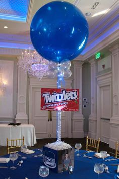 7f84ca2af508 Candy Themed Bar Mitzvah Centerpiece with 3D Candy Posters Candy  Centerpieces