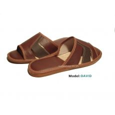 Natural leather open slippers sandals men sandals - David