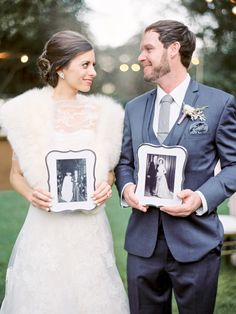 Bride and Groom with their parent's wedding photos...