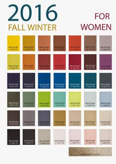 Patone's Fall-Winter 2016 color forecast for women.