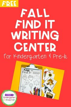 Fall is in full swing! Today, we are excited to share with you one of our seasonal early childhood education literacy activities.  This FREE printable Fall Find It Writing Center is a fun, simple way to get your children walking around the classroom, reading, and coloring all at the same time! Perfect for Pre-K or Kindergarten. #learningactivities #prek #preschool #kindergarten #fallpreschoolactivities #fallkindergartenactivities