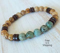Men's African Turquoise, tribal bracelet, Picture Jasper, Mala bracelet, Reiki Charged, Energy bracelet, Healing, mala beads, Turquoise