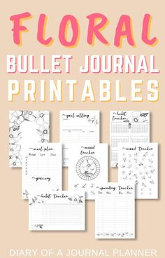 Get these floral themed bullet journal printables for a whole month of bujo pages sorted. Find everything from daily spreads, monthly layouts, trackers and more. #bulletjournalflowers #bujo #bulletjournalprintables #bulletjournalspreads #floral #bulletjournaltheme Planner Free, Daily Planner Pages, Printable Planner Pages, Floral Printables, Templates Printable Free, Planner Template, Bullet Journal Printables, Bullet Journal Themes, Discbound Planner