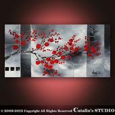 Original Modern Landscape Asian Zen Tree Blossom Textured Painting Art