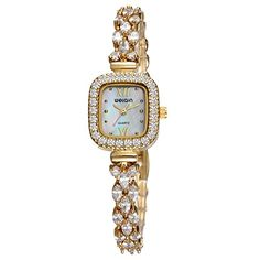 WEIQIN Women Luxury Square CrystalAccented Analog GoldTone Alloy Quartz Bracelet Dress Wrist Watch * Be sure to check out this awesome product. (Note:Amazon affiliate link)