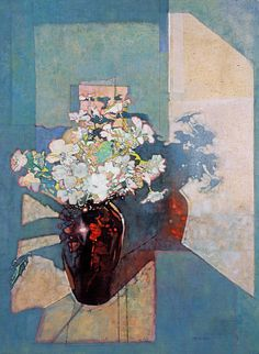 Red Vase Pink Flowers..michael dudash
