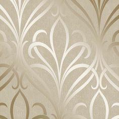 Henderson Interiors Camden Damask Wallpaper Cream, Gold (H980532)