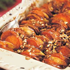Roasted Apples and Sweet Potatoes in Honey-Bourbon Glaze Recipe Doesn't get yummier than this! Learn how to make Roasted Apples and Sweet Potatoes in Honey-Bourbon Glaze. MyRecipes has tested recipes and videos to help you be a better cook Side Recipes, Apple Recipes, Vegetable Recipes, Fall Recipes, Holiday Recipes, Potluck Recipes, Sweet Potato And Apple, Sweet Potato Recipes, Sweet Potato Casserole