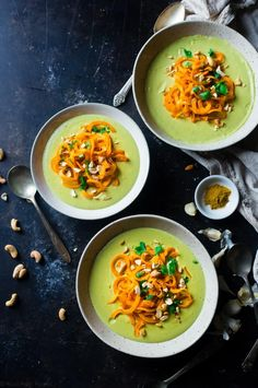 Vegan Cauliflower Coconut Curry Soup with Sweet Potato Noodles - This easy soup is made extra creamy with cauliflower and cashew cream! Top it with sweet potato noodles for a gluten free meal that is paleo friendly! | Foodfaithfitness.com | @FoodFaithFit