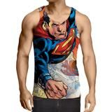 Justice League Powerful Superman Comic Art Print Tank Top    #JusticeLeague #Powerful #Superman #Comic #Art #Print #TankTop