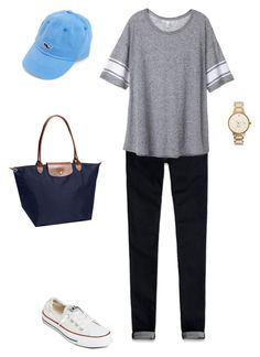 """""""Untitled #31"""" by morganche ❤ liked on Polyvore featuring Converse, Abercrombie & Fitch, Victoria's Secret, Vineyard Vines, Longchamp and Kate Spade"""