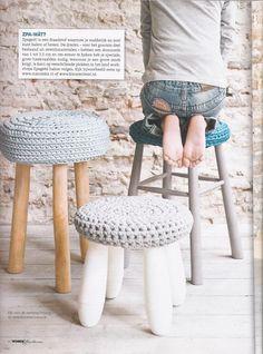 housse de tabouret en trapilho #crochet