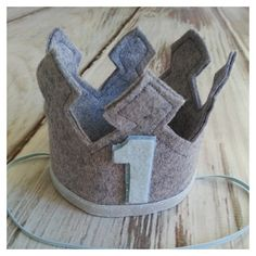 Ready to Ship Grey First Birthday Felt Crown, Felt Crown, Birthday Boy Crown, cake smash, 1st birthday, photo prop, Birthday, baby birthday