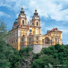 Melk Abbey in Austria.  This photo is taken near the Danube River. It has stunning green marble floor and pillars in the spacious library and beautiful spirol staircase.