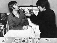 Ringo Starr and George Harrison at University College Hospital London, December 1964.