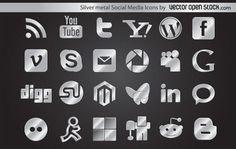 Silver Metal Social Media Icons Vector