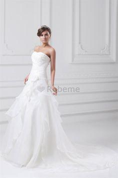 Robe de mariée de bustier en organza avec décoration dentelle fermeutre eclair…