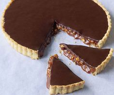 Fine Cooking: Chocolate Caramel Almond Tart  Alternative pastry recipe: 1 c. flour, 2 T. powdered sugar, 1/2 c. butter cut into pieces. Process in food processor and press into greased 9-inch tart pan. Bake at 42...