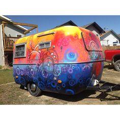 Refurbished 1976 Boler Camper  By Jaimie Cooney x Plutonium™ Paint vibrant opaque colors - #PlutoniumPaint #SprayPaint #UltraSupreme #SpecialtyPaint #MadeInTheUSA #DIY #Crafty #Upcycle